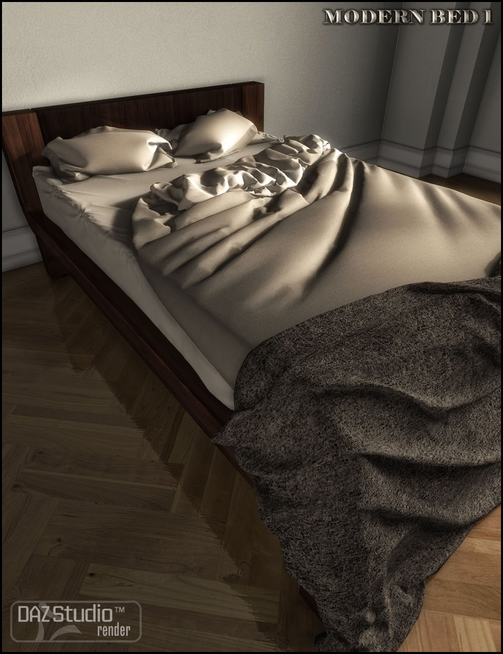 Modern Bed 1 by: Jack Tomalin, 3D Models by Daz 3D