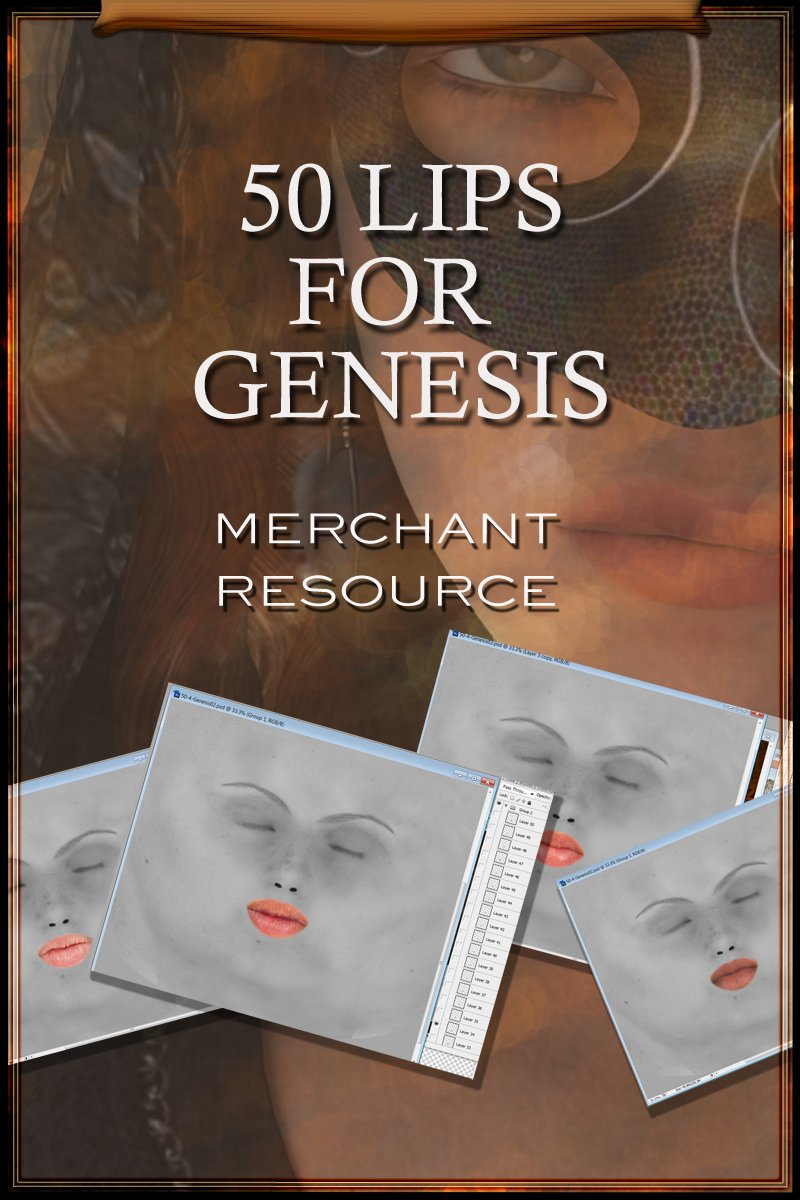 50 Lips For Genesis by: gypsyangel, 3D Models by Daz 3D