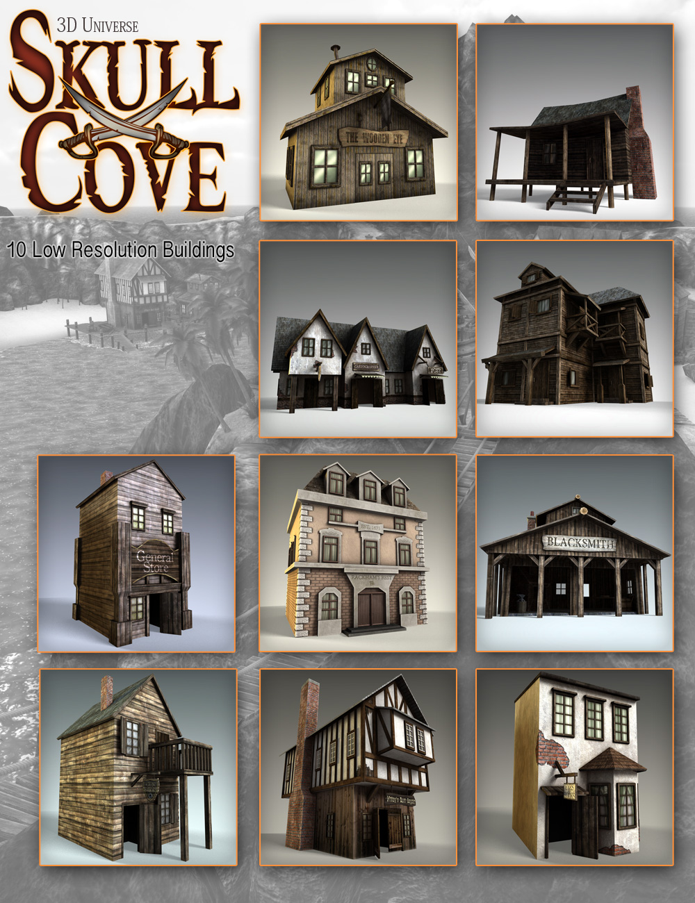 Skull Cove Buildings by: 3D Universe, 3D Models by Daz 3D