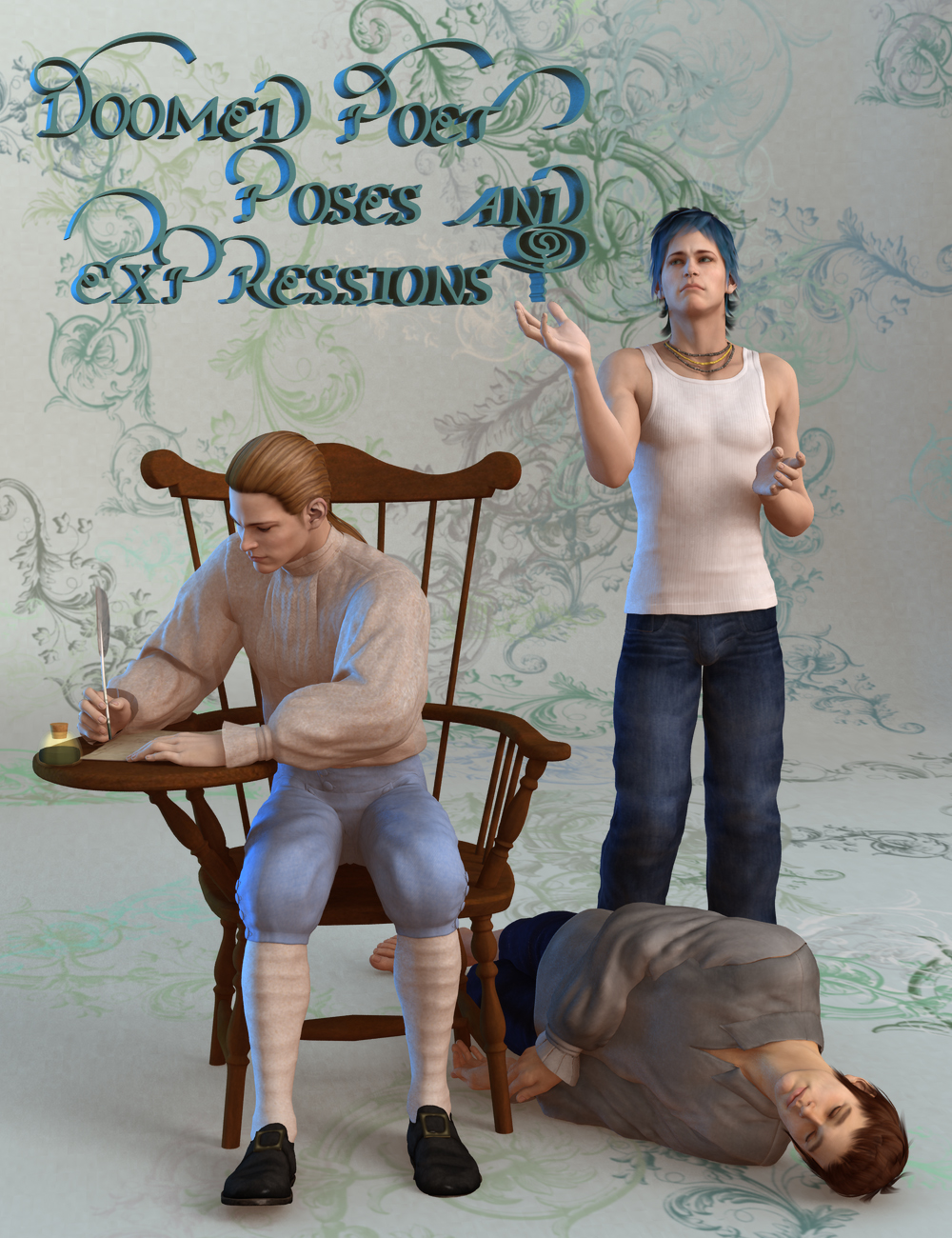 Doomed Poet Poses and Expressions by: Canary3d, 3D Models by Daz 3D
