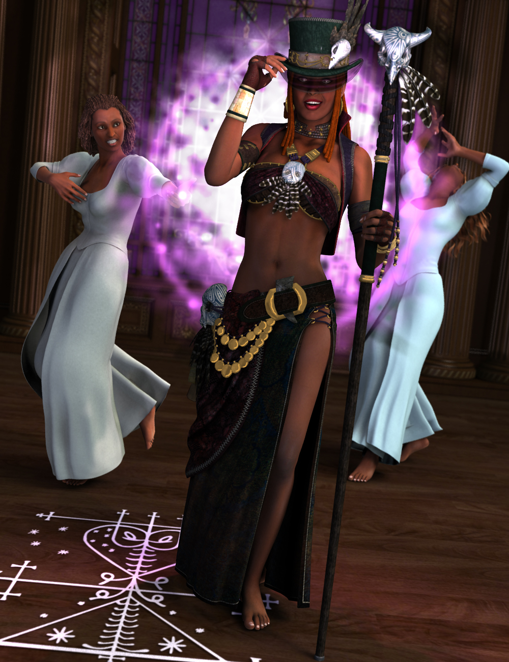 Voodoo Magic Poses for V4.2 and V5 by: FeralFey, 3D Models by Daz 3D