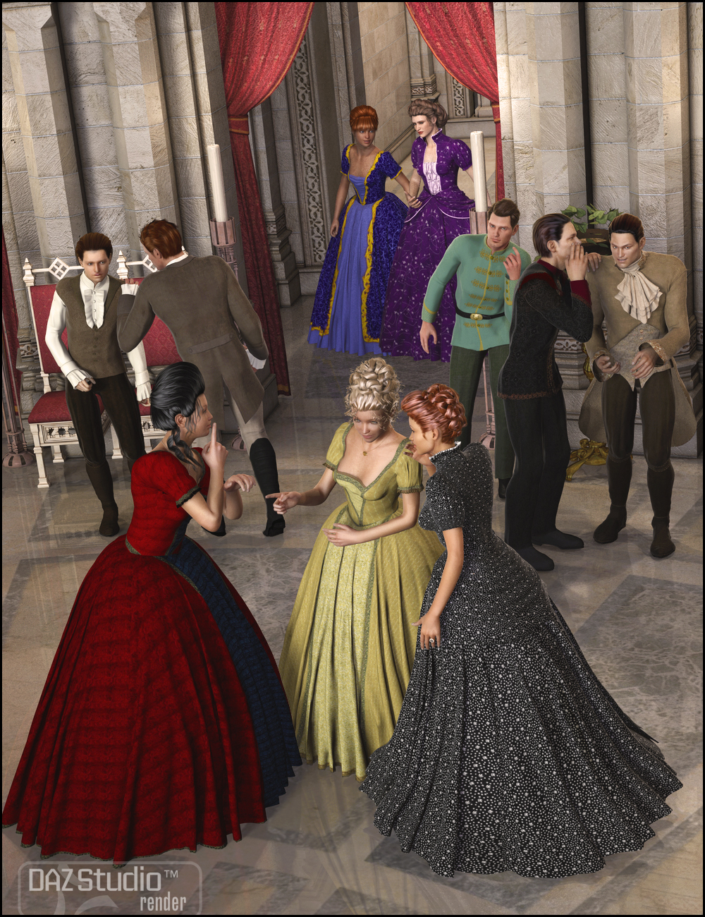 Courtly Intrigue Poses by: FeralFey, 3D Models by Daz 3D