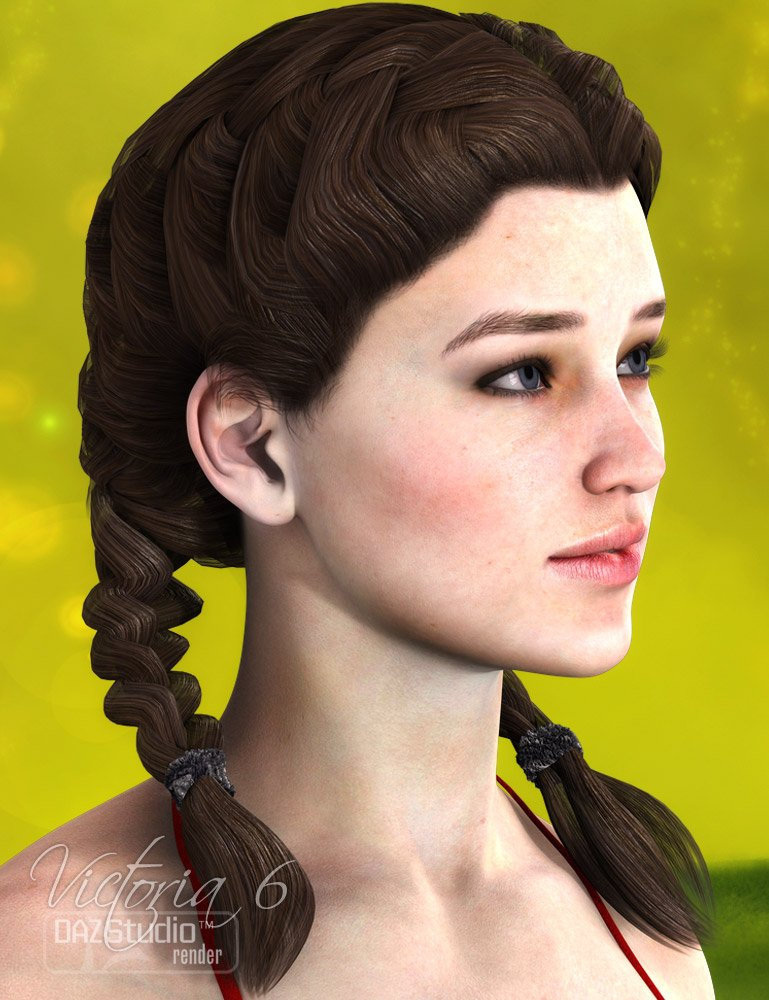 Xylia Double French Braids 2 by: AprilYSH, 3D Models by Daz 3D