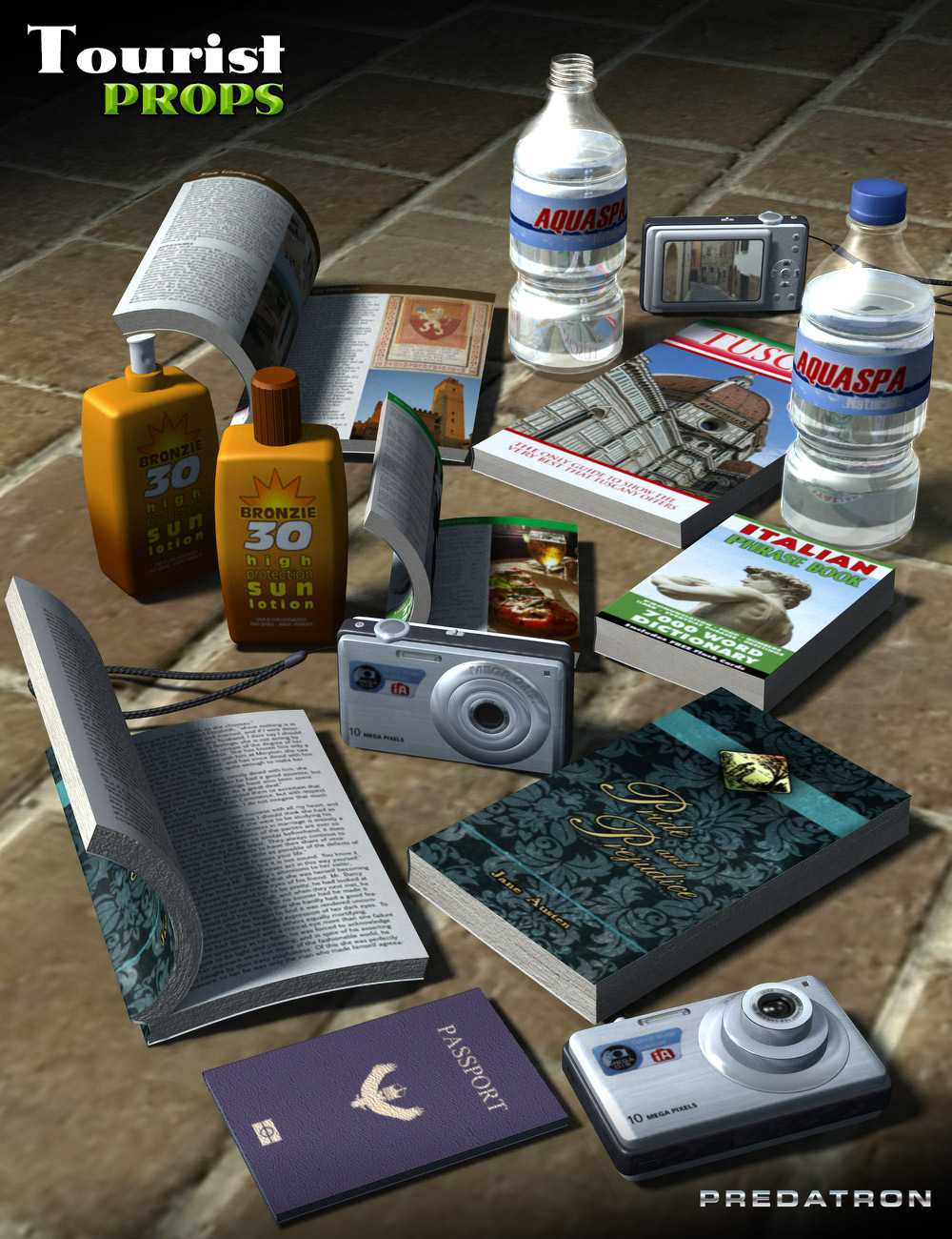 Tourist Props by: Predatron, 3D Models by Daz 3D