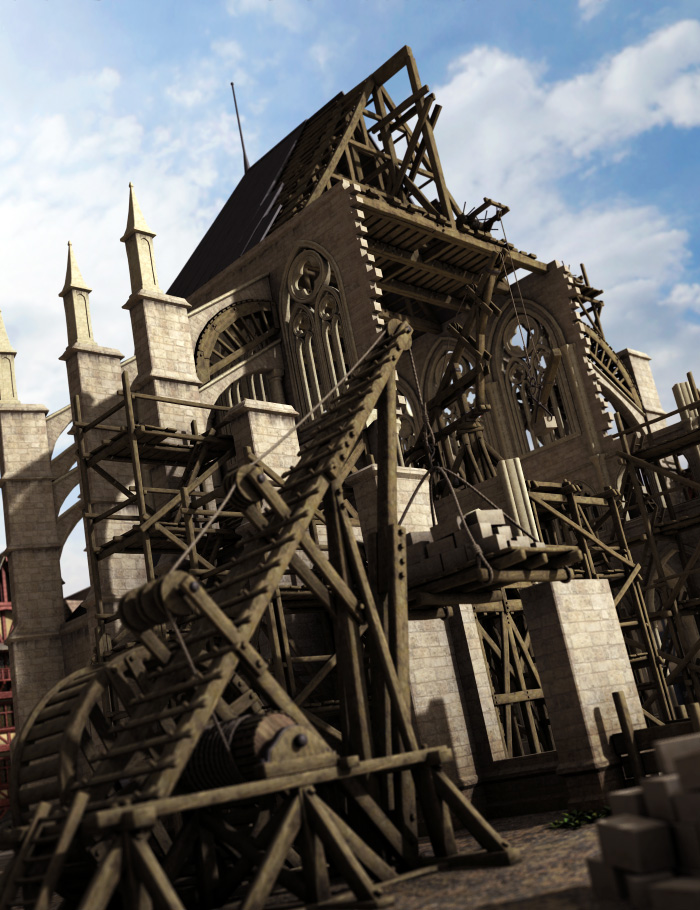 Medieval Construction Props by: Faveral, 3D Models by Daz 3D