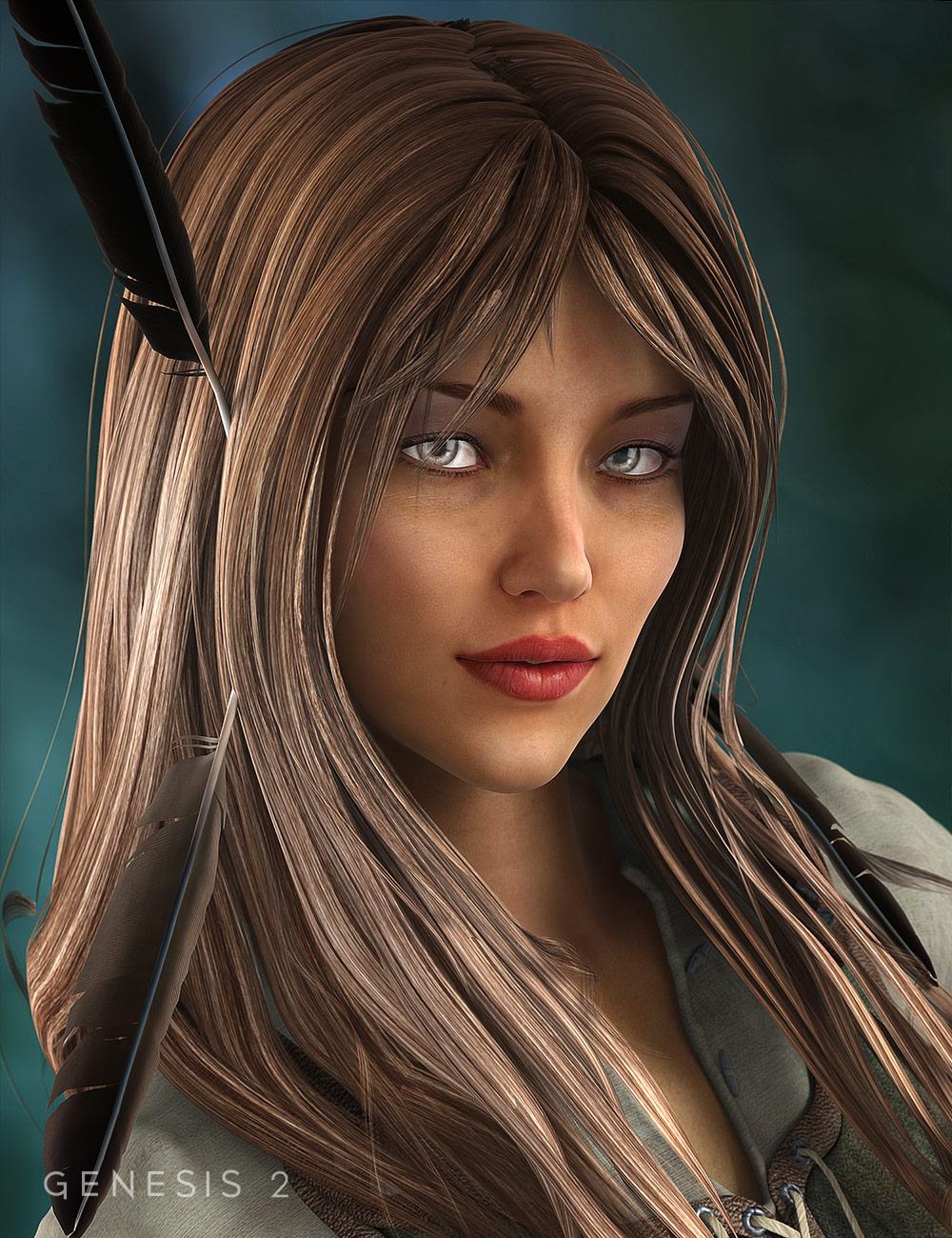 Ranger Hair for Genesis 2 Female(s) by: 3D Universe, 3D Models by Daz 3D