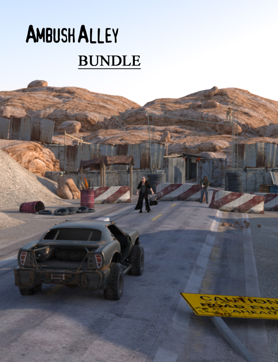 Ambush Alley Post Apocalyptic Bundle by: FirstBastion, 3D Models by Daz 3D