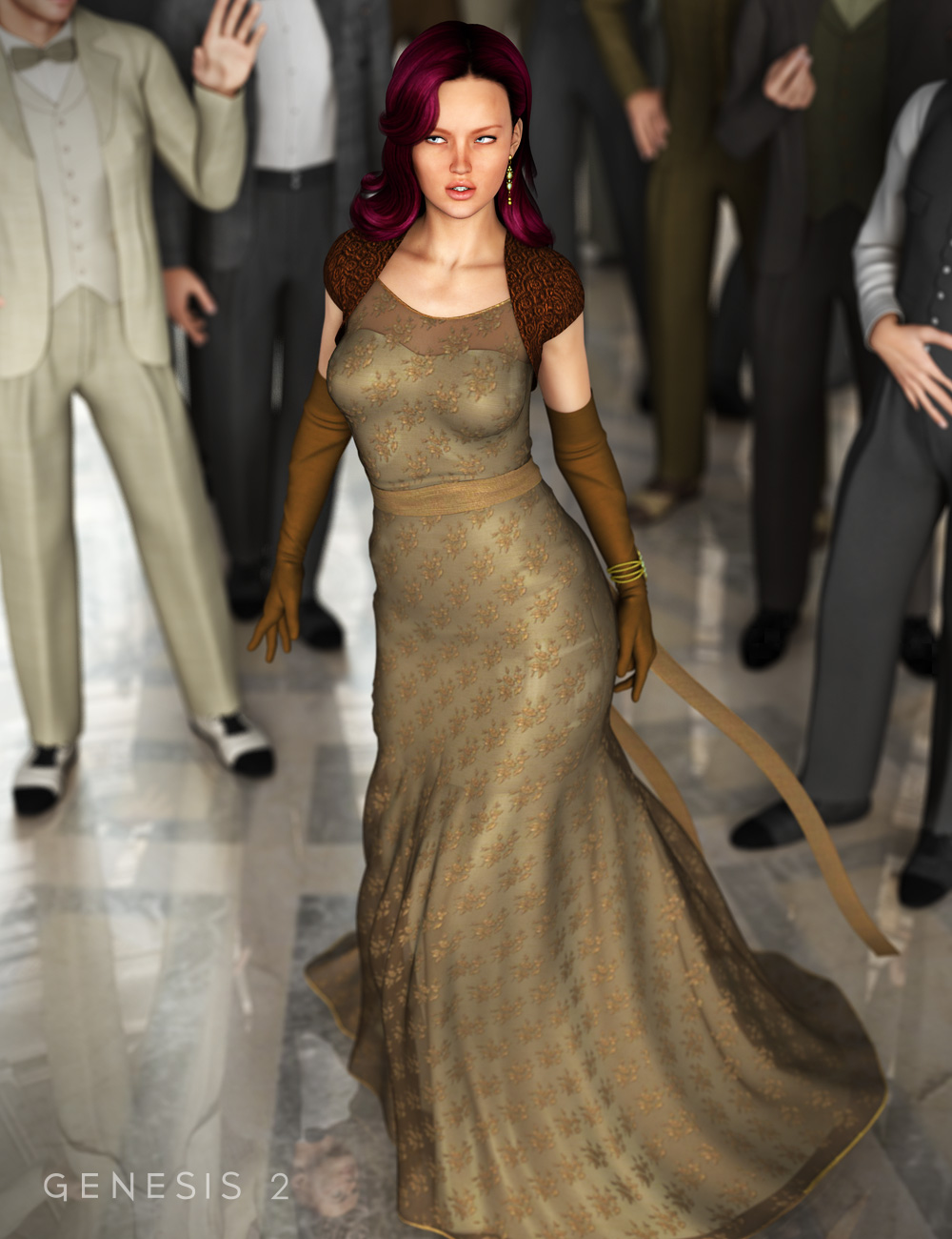 Evening Gown for Genesis 2 Female(s) by: Ravenhair, 3D Models by Daz 3D
