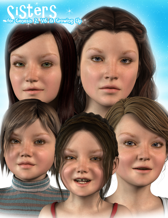 Sisters for Zev0's Growing Up Pack by: ForbiddenWhispersJSGraphics, 3D Models by Daz 3D