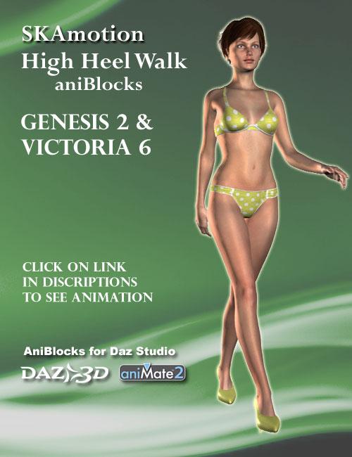 Victoria 6 / Genesis 2 Female(s) High Heel Walk aniBlock by: SKAmotion, 3D Models by Daz 3D