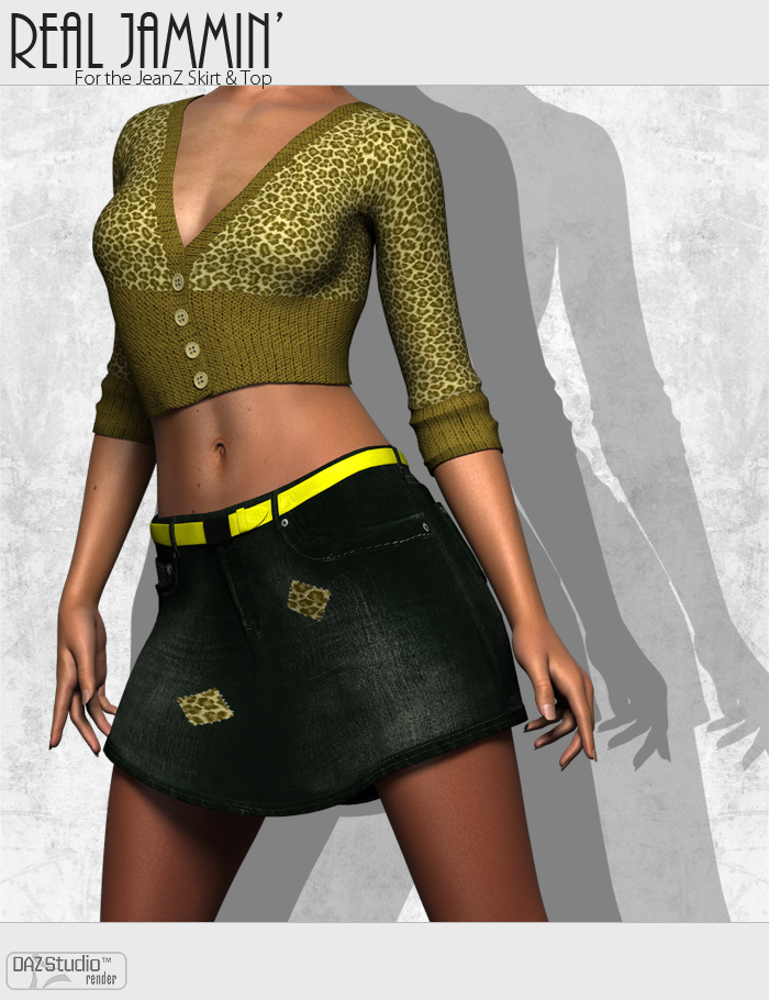 Real Jammin' for the JeanZ Skirt & Top by: ForbiddenWhispers, 3D Models by Daz 3D