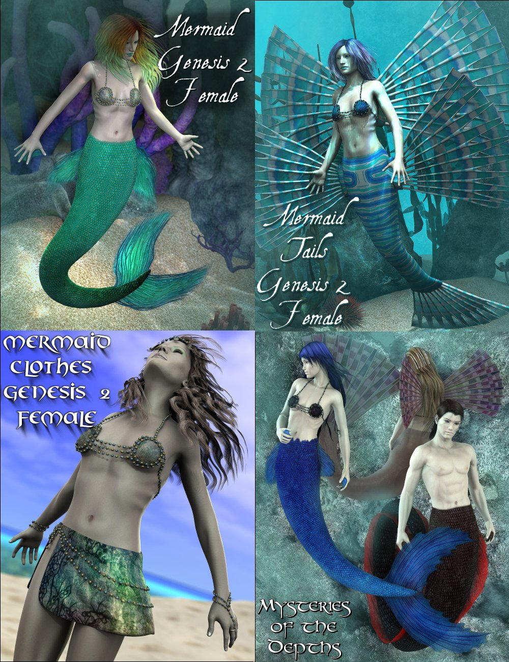 Mermaid Genesis 2 Female(s) Mega Bundle by: SickleyieldFuseling, 3D Models by Daz 3D