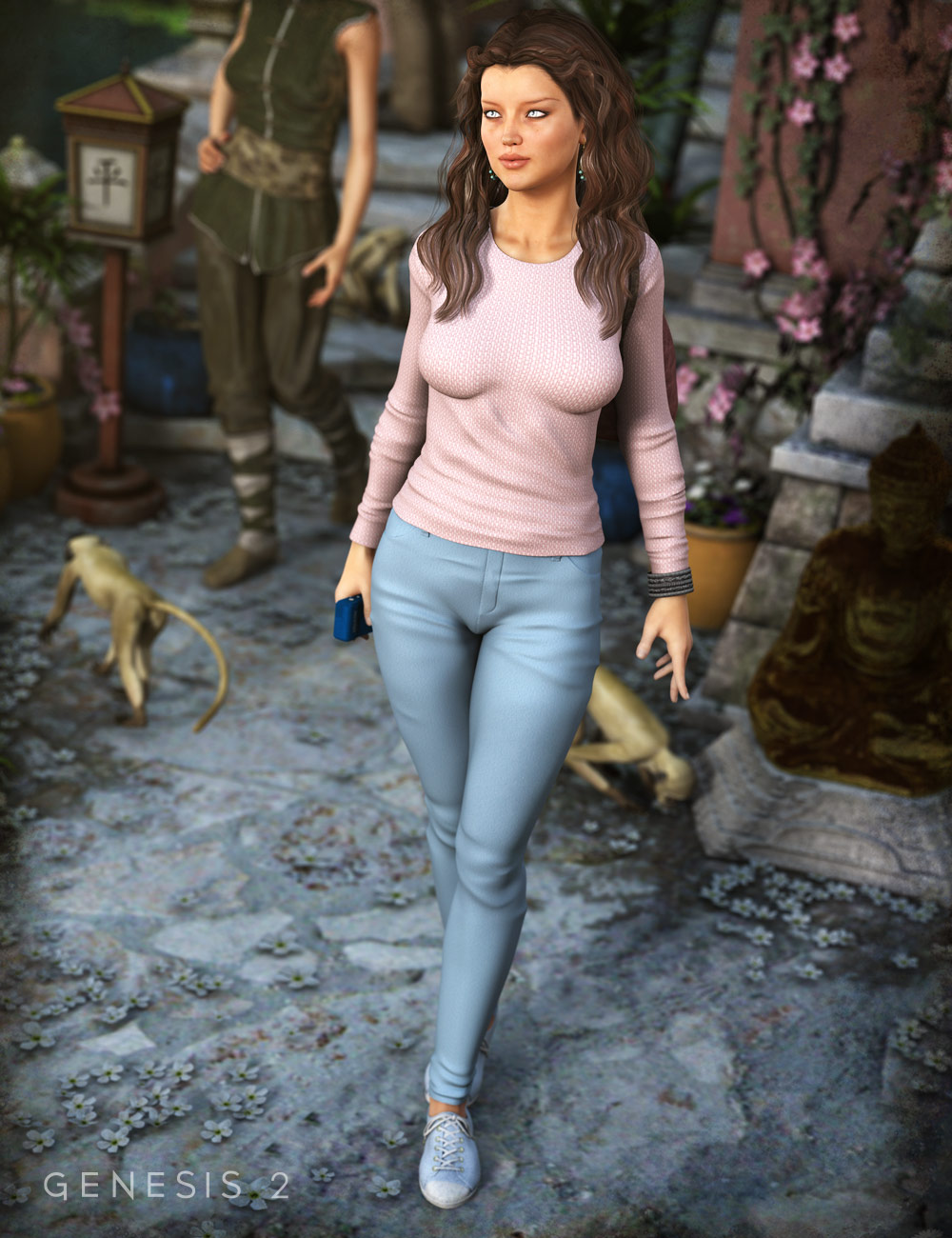 Casual Jeans and T-Shirt for Genesis and Genesis 2 Female(s) by: Ravenhair, 3D Models by Daz 3D