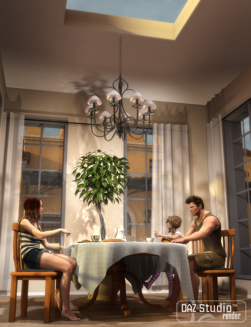 Country Dining Room by: , 3D Models by Daz 3D