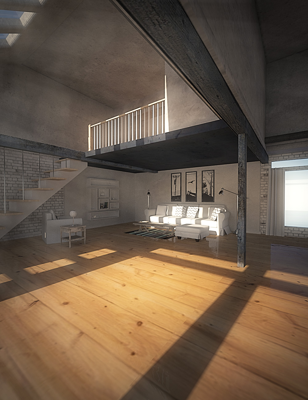 A Bright Loft by: , 3D Models by Daz 3D