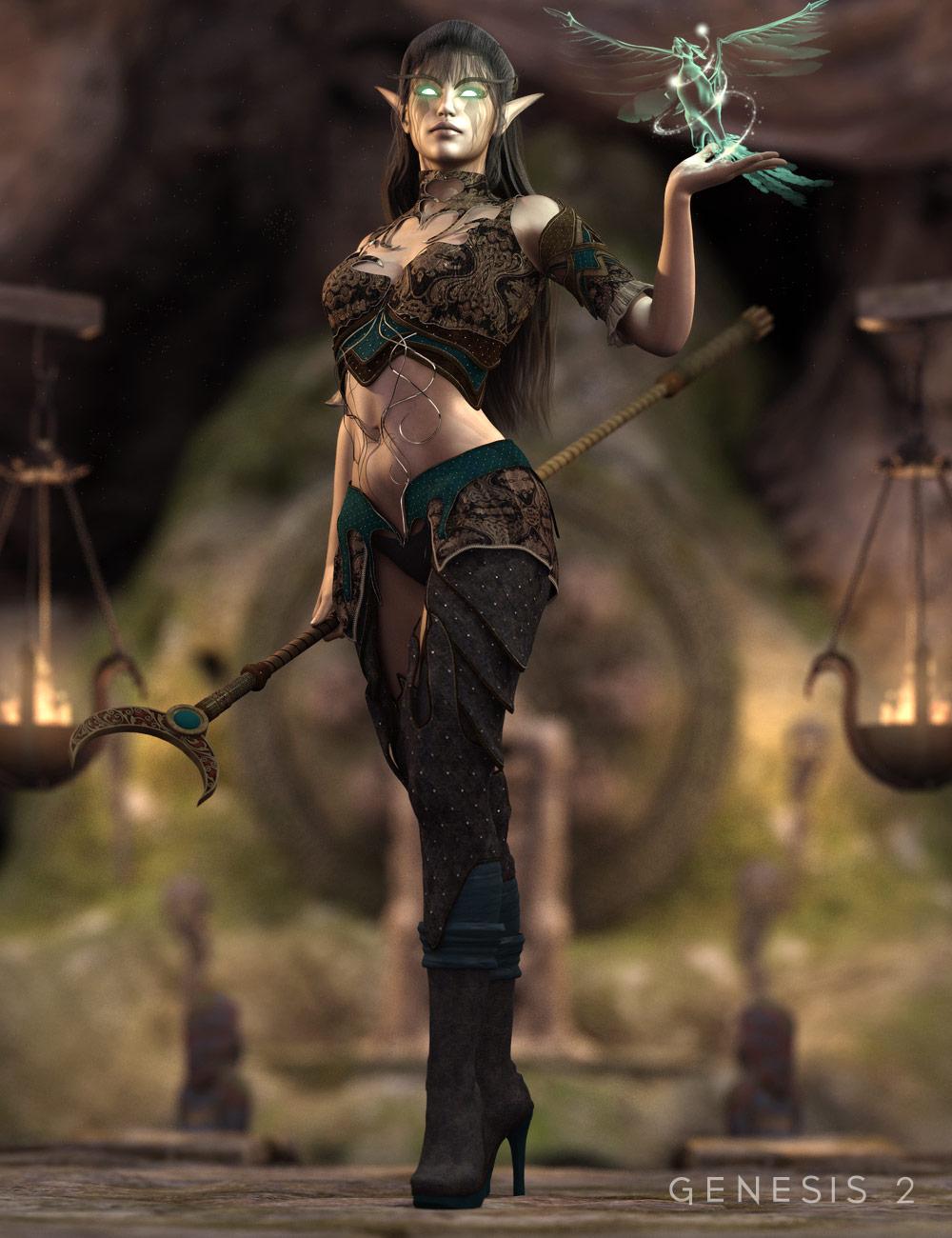 Dark Elf Enchantress Outfit for Genesis 2 Female(s) by: Barbara BrundonSarsa, 3D Models by Daz 3D