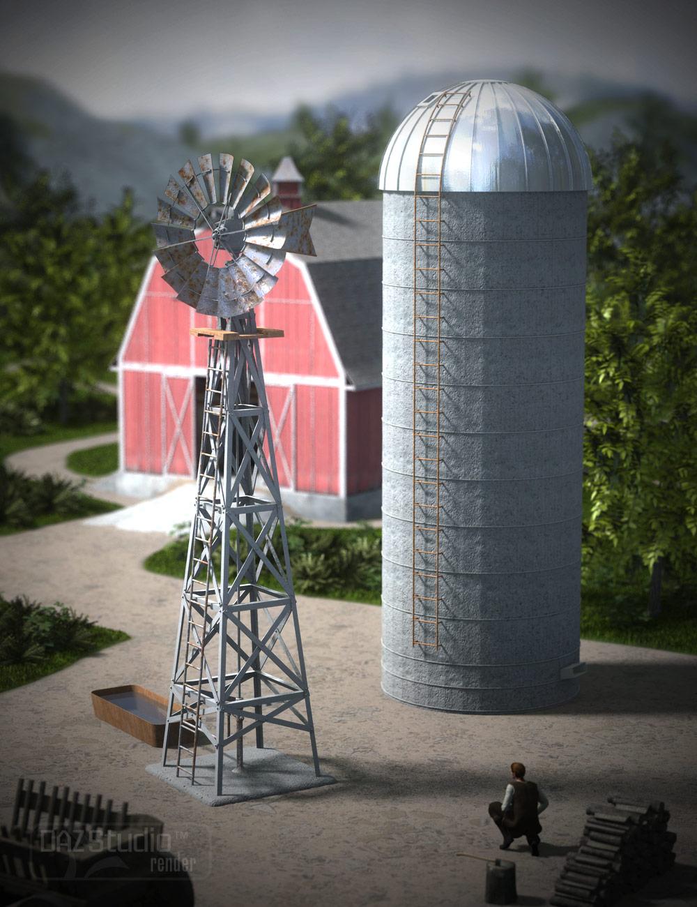DAZ Water Pump and Grain Silo by: KRAIG, 3D Models by Daz 3D