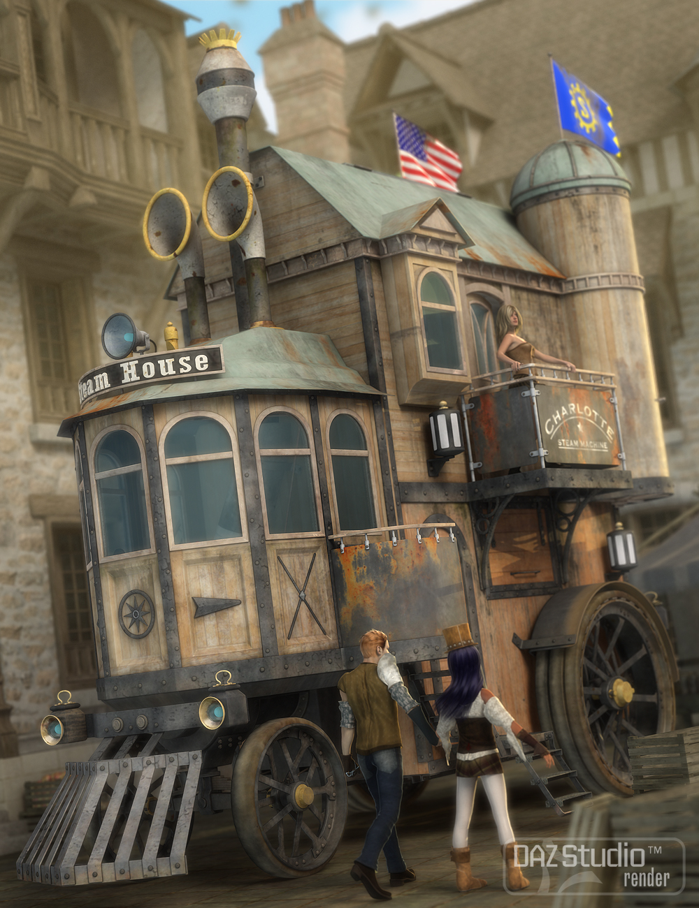 Steam House by: petipet, 3D Models by Daz 3D