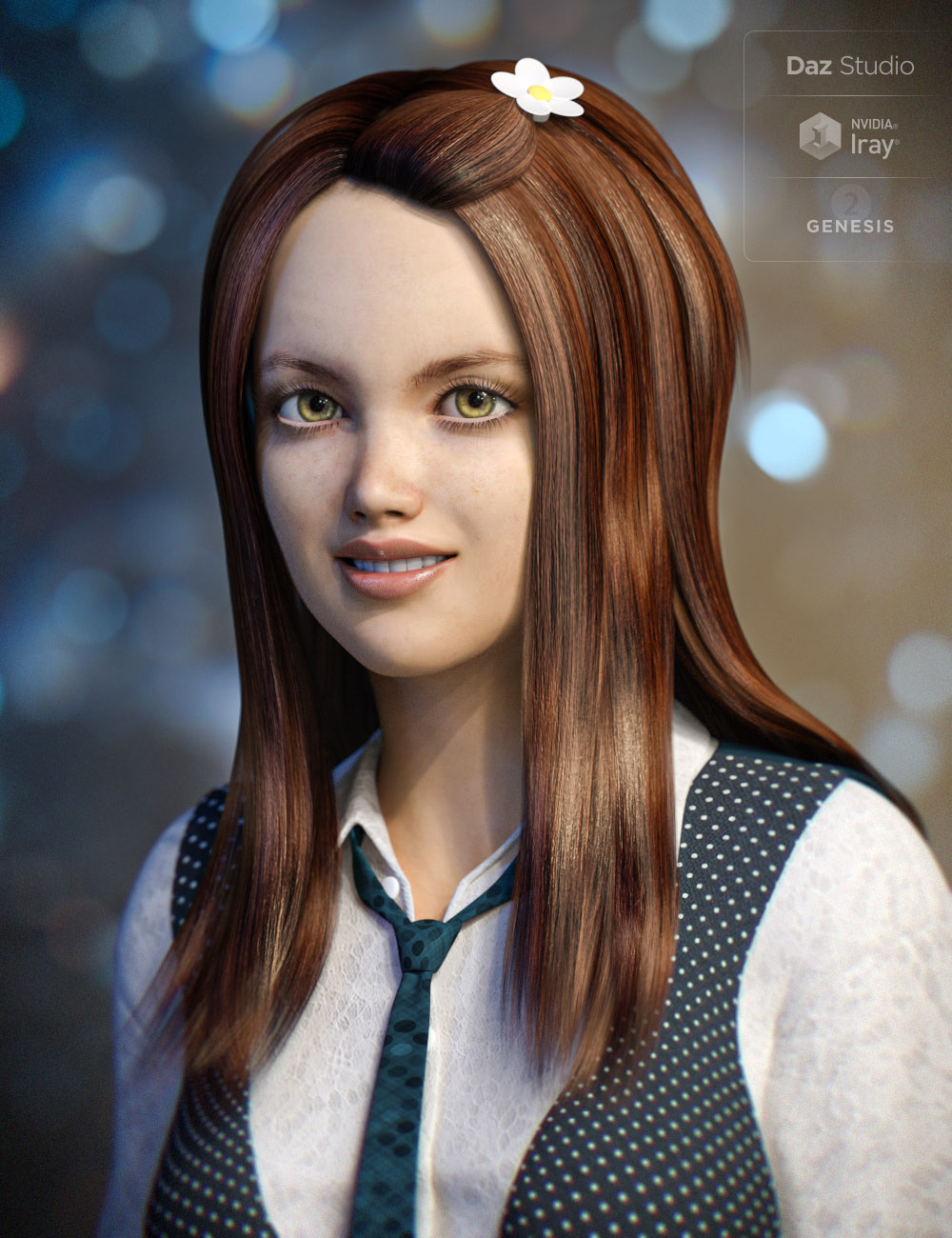 Sweet Flower Hair by: , 3D Models by Daz 3D