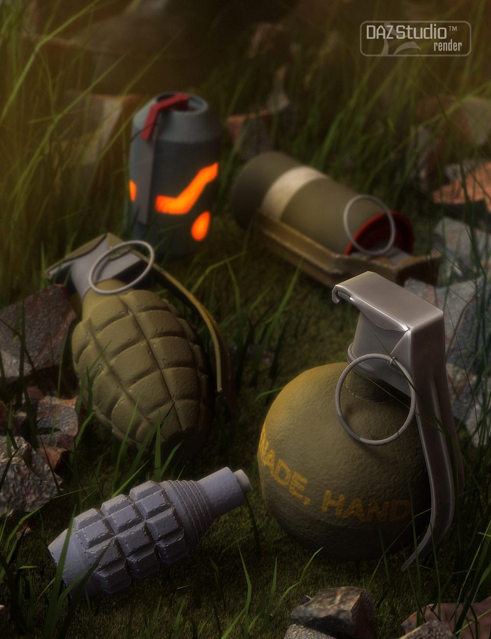 Grenade Bundle by: Valandar, 3D Models by Daz 3D