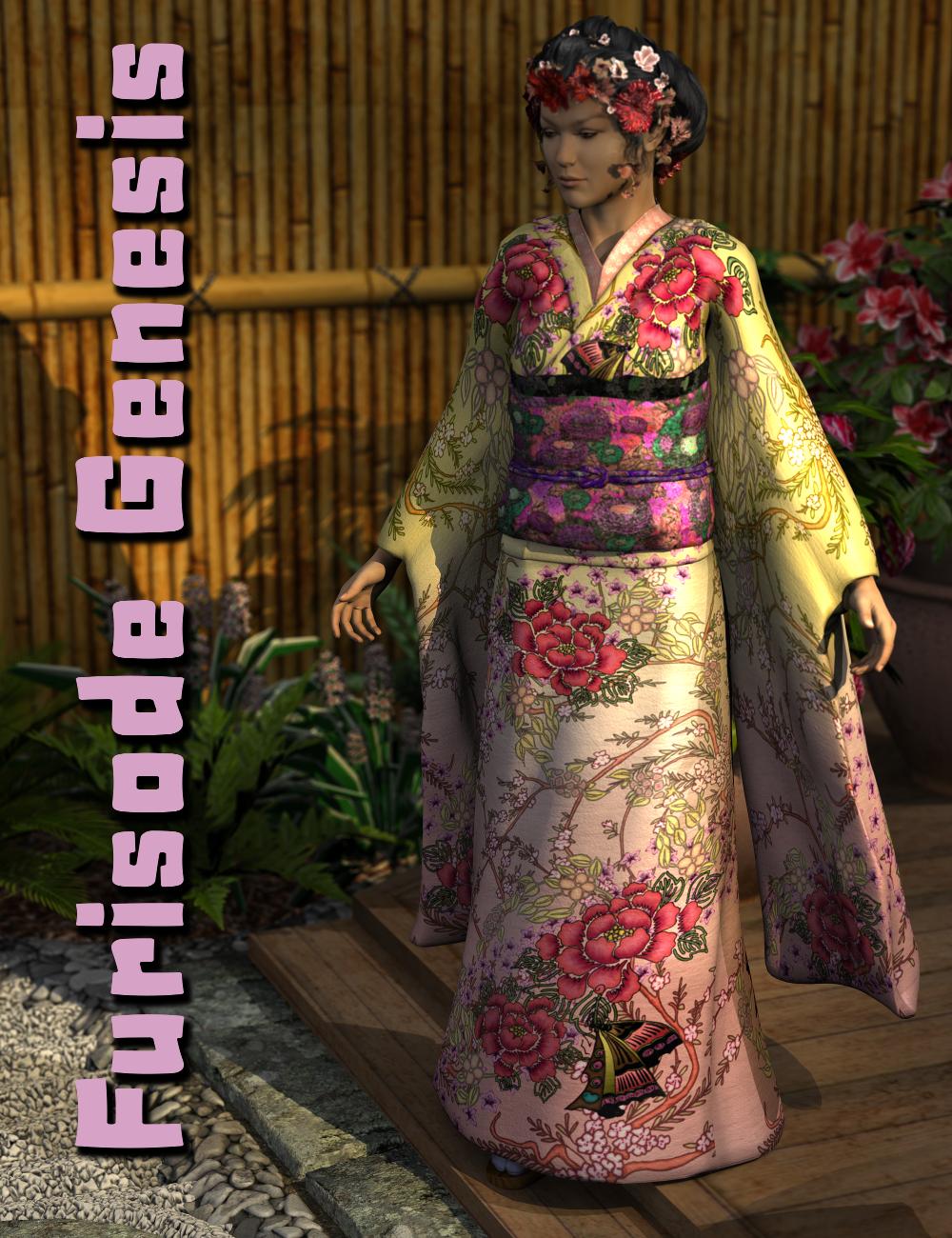 Furisode Genesis by: SickleyieldFuseling, 3D Models by Daz 3D
