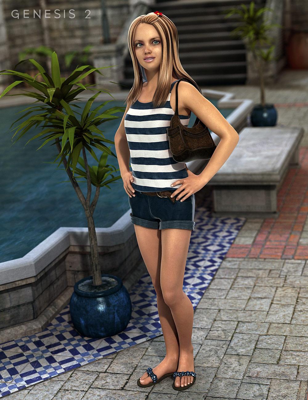 Boardwalk Outfit for Genesis 2 Female(s) by: Barbara BrundonSarsa, 3D Models by Daz 3D