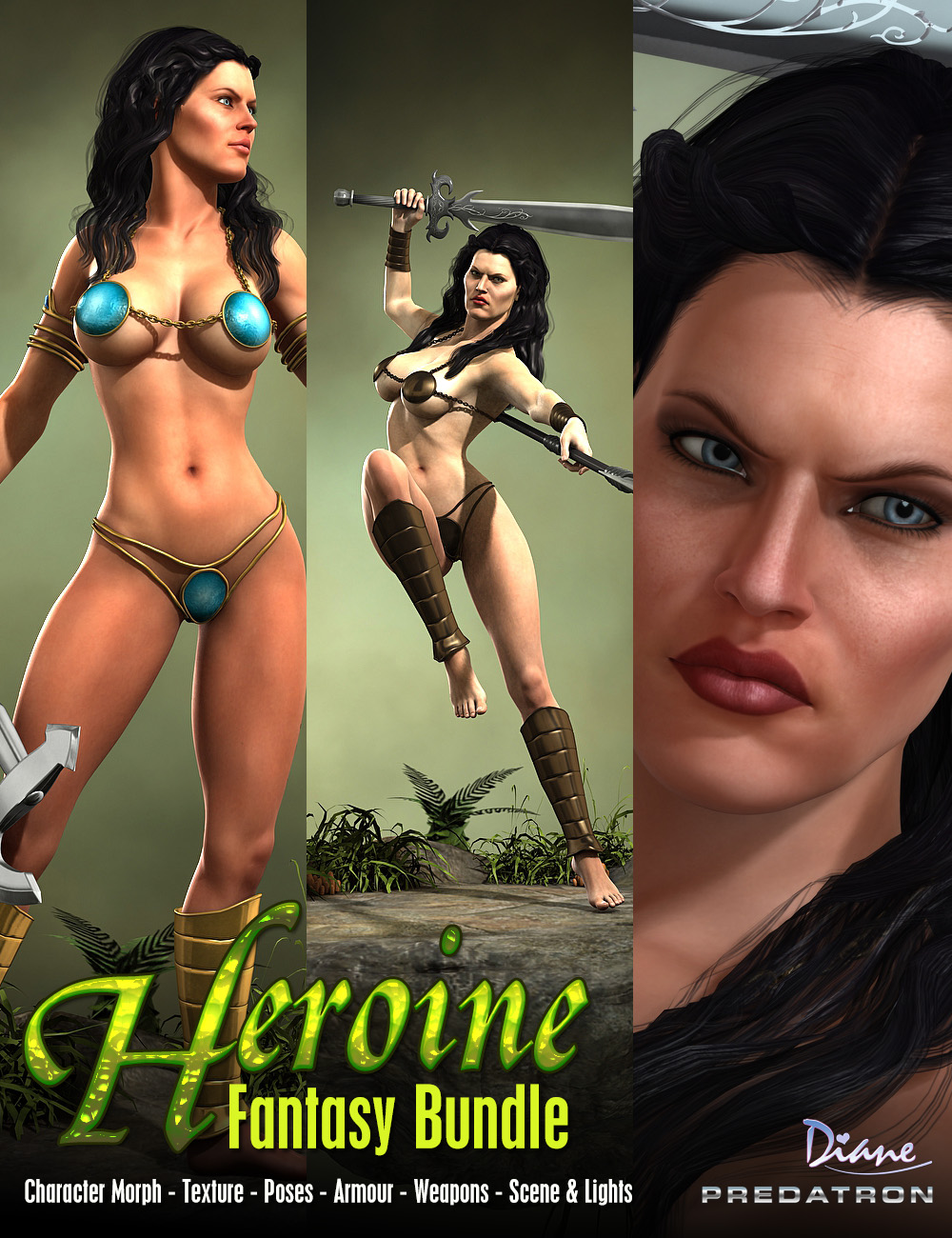 Heroine Fantasy Bundle by: DianePredatron, 3D Models by Daz 3D