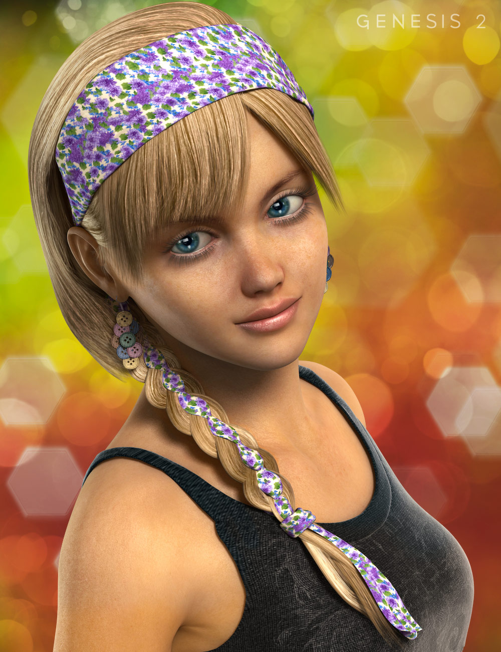 Scarf Braid Hair by: , 3D Models by Daz 3D
