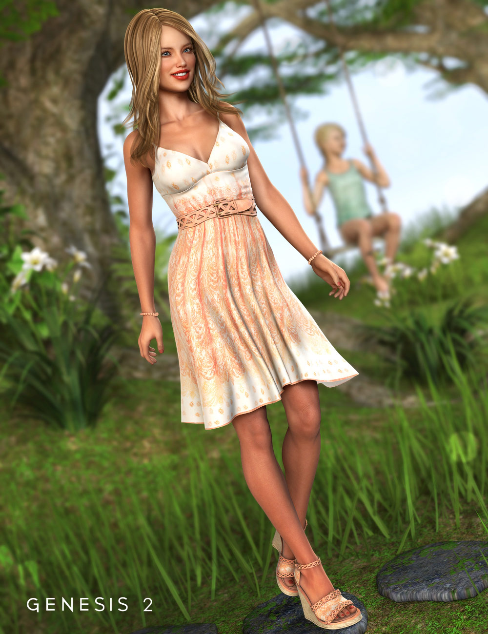 Southern Peach Sundress Outfit for Genesis 2 Female(s) by: Barbara BrundonMorris, 3D Models by Daz 3D