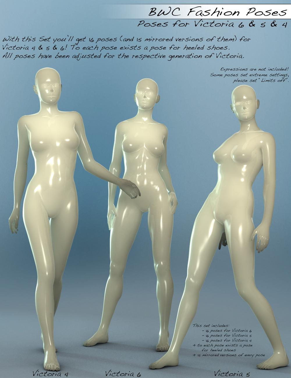 BWC Fashion Poses for V6, V5 and V4 by: Sedor, 3D Models by Daz 3D