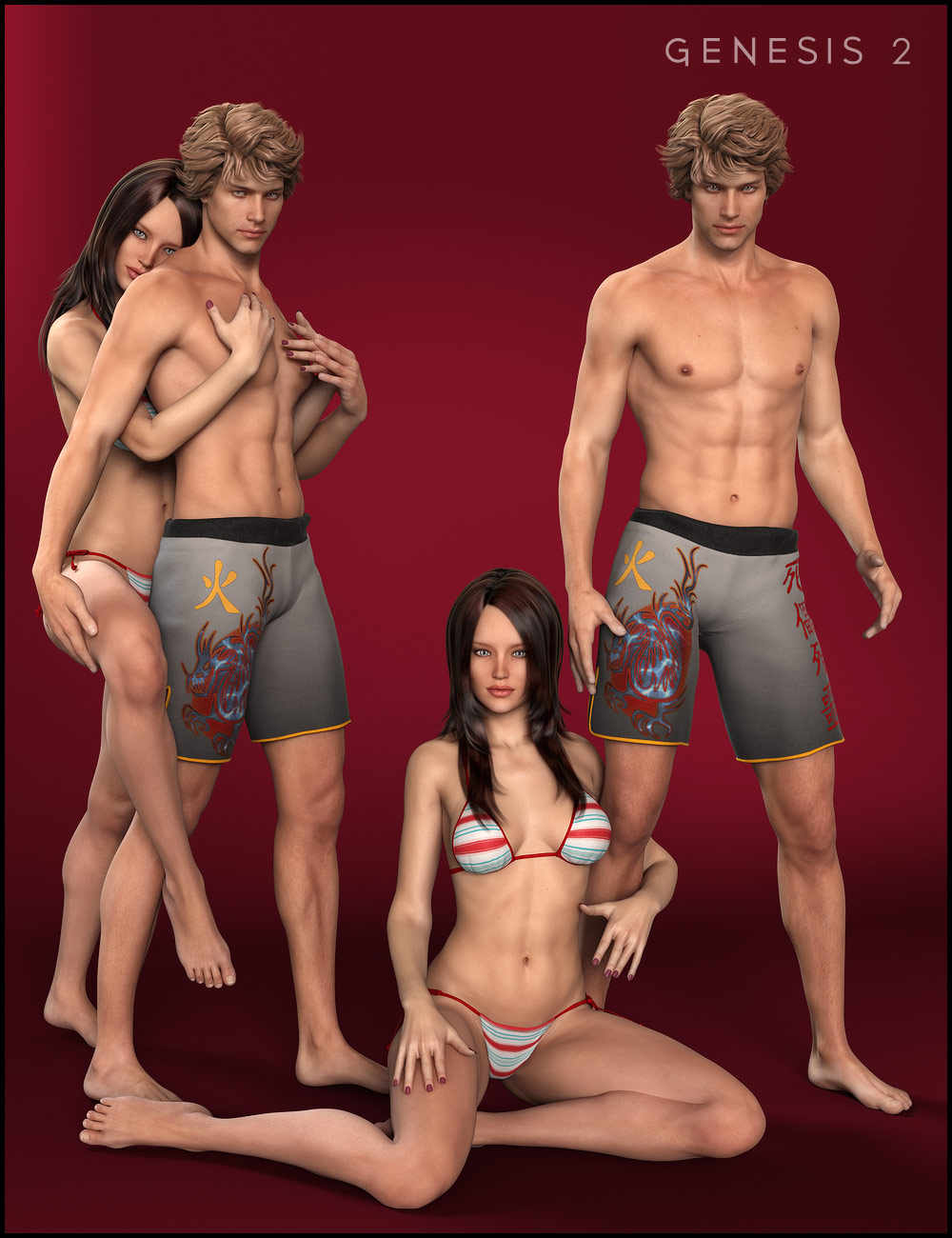 Soulmate II Poses for V6 and M6 by: Morris, 3D Models by Daz 3D