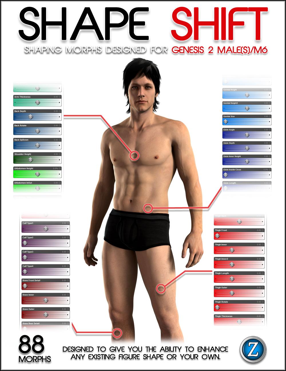 Shape Shift for Genesis 2 Male(s) / M6 by: Zev0, 3D Models by Daz 3D