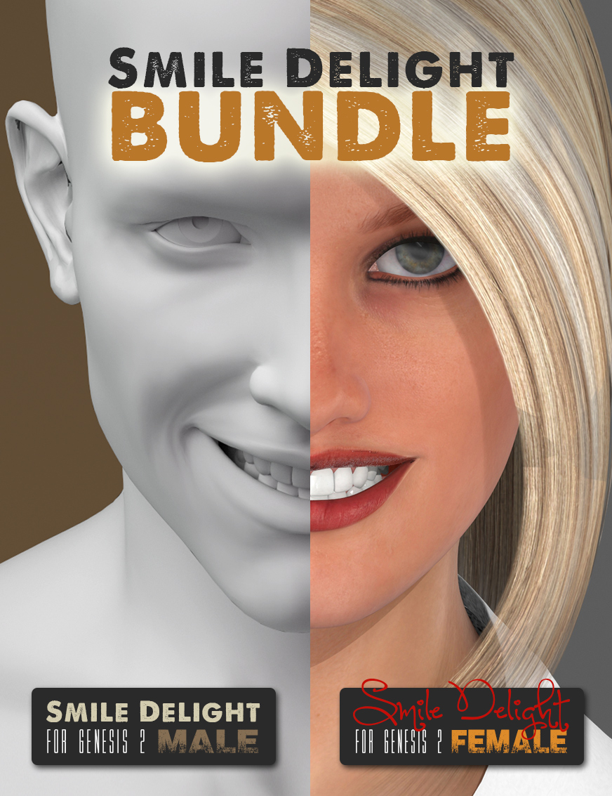Smile Delight for Genesis 2 BUNDLE by: Cake One, 3D Models by Daz 3D