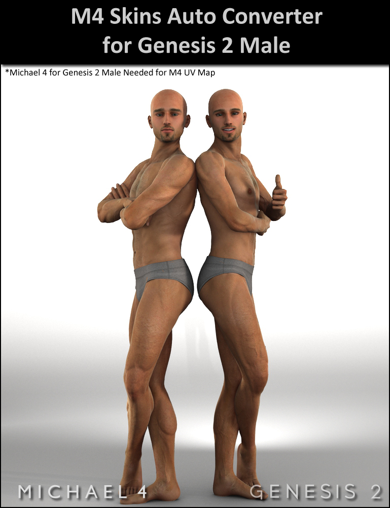 Michael 4 Skins Auto Converter For Genesis 2 Male(s) by: DraagonStorm, 3D Models by Daz 3D