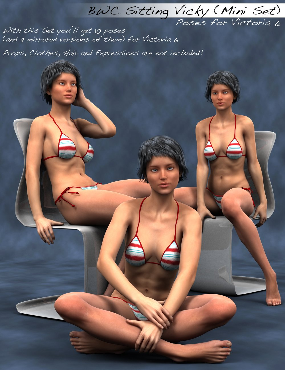 BWC Sitting Vicky for Victoria 6 by: Sedor, 3D Models by Daz 3D