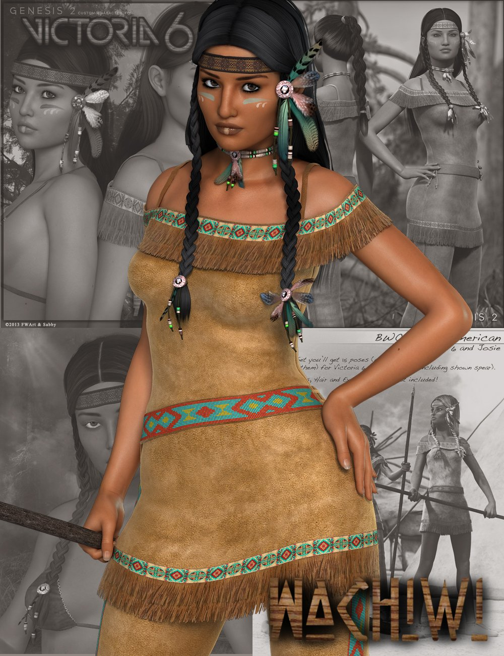 Wachiwi - Native American Character, Outfit, Hair and Poses Bundle by: SWAMSabbyFred Winkler ArtFisty & DarcSedor, 3D Models by Daz 3D