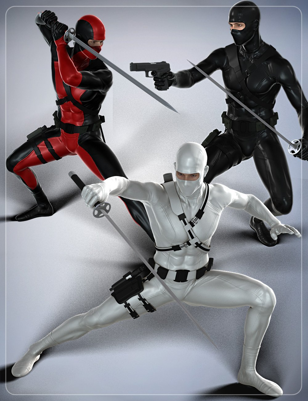 Modern Ninja Poses for Genesis 2 Male(s) and Michael 6 by: smayVelemudr, 3D Models by Daz 3D