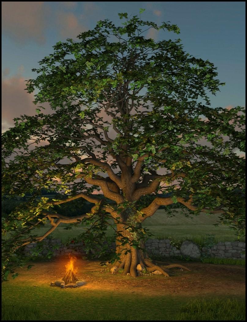 Merlin's Oak, Plants and Props Set by: Merlin Studios, 3D Models by Daz 3D