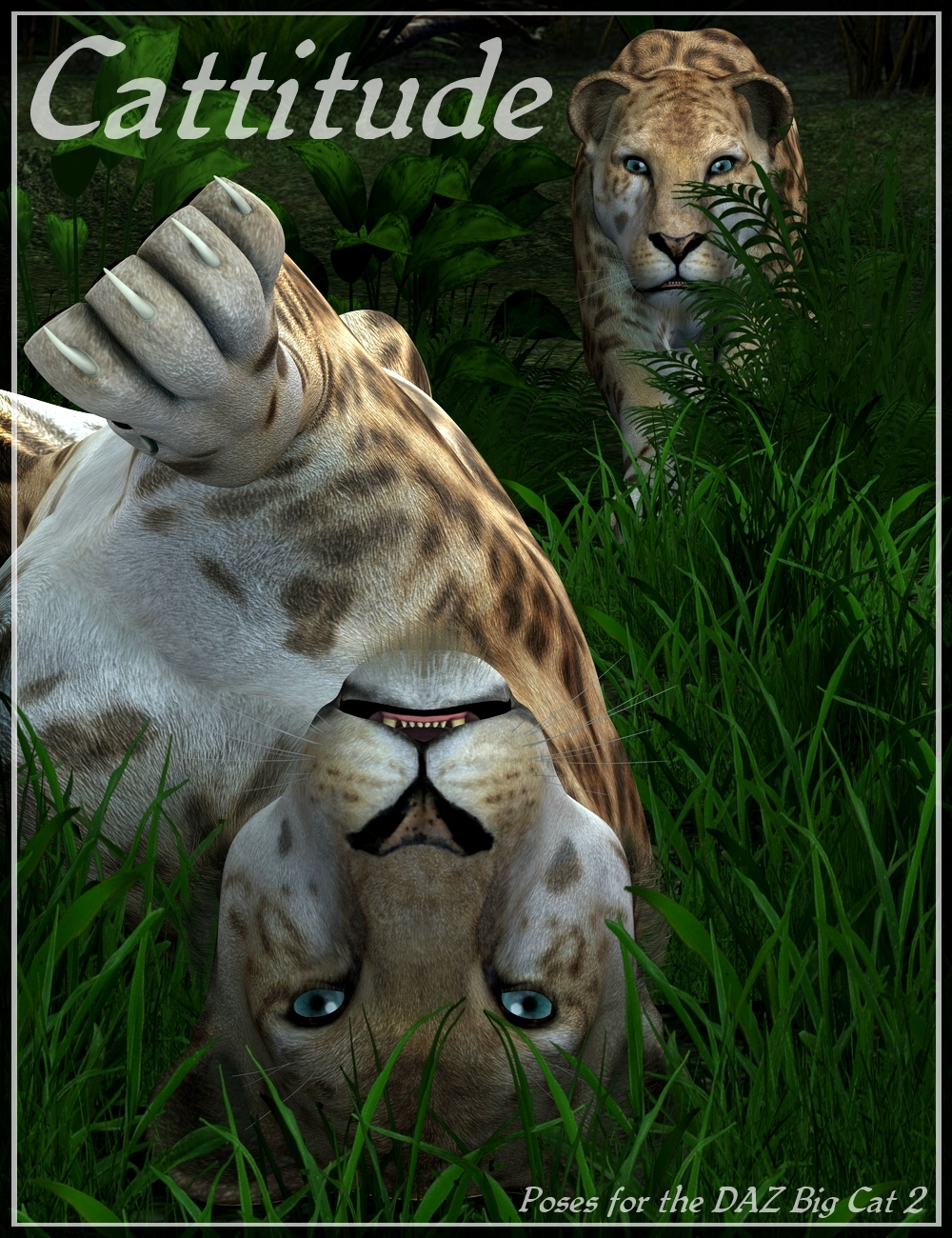 Cattitude Poses for DAZ Big Cat 2 by: Elliandra, 3D Models by Daz 3D