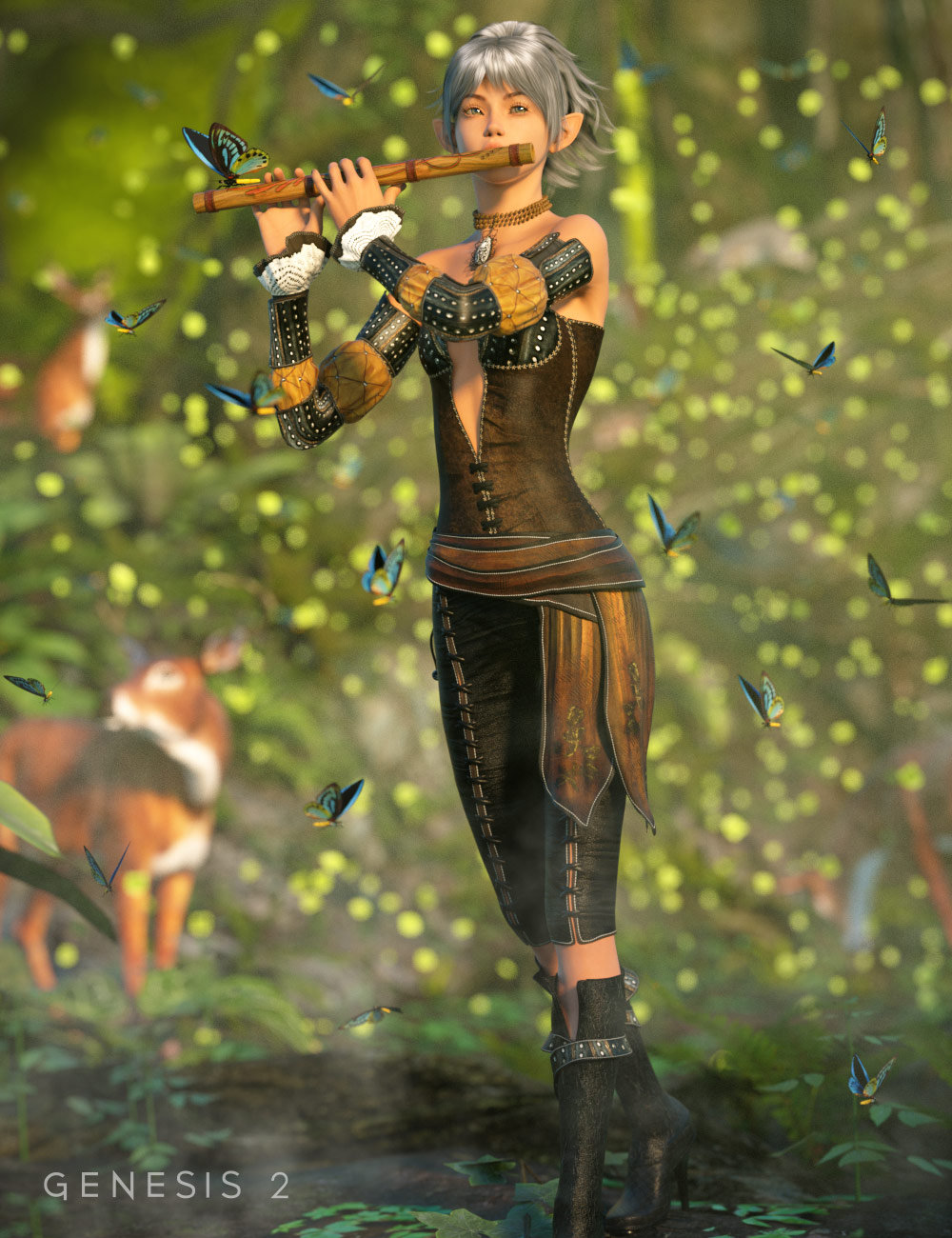 Elven Grove Outfit for Genesis 2 Female(s) by: Barbara BrundonSarsa, 3D Models by Daz 3D