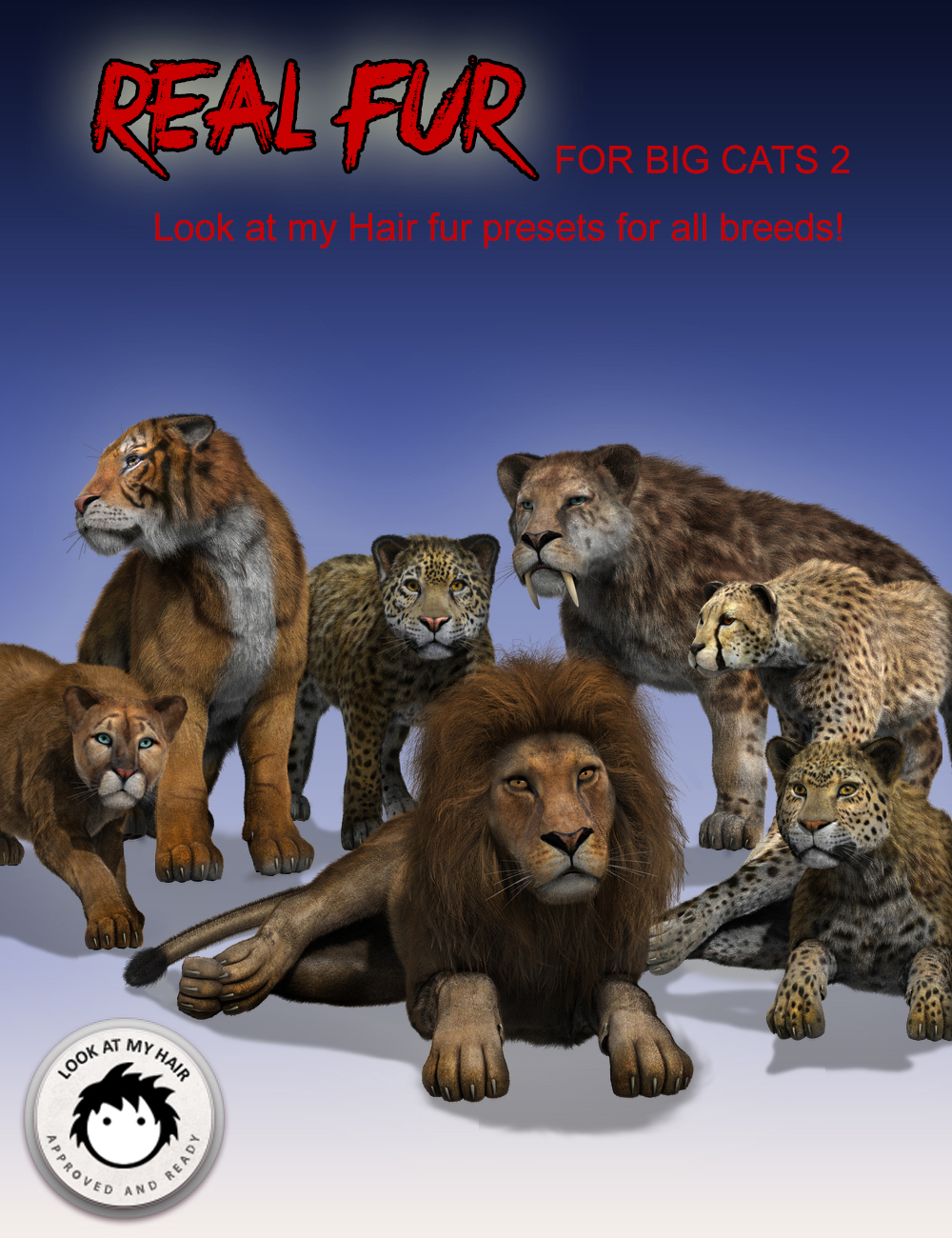 Real Fur for DAZ Big Cat 2 by: Alessandro_AMKendall Sears, 3D Models by Daz 3D