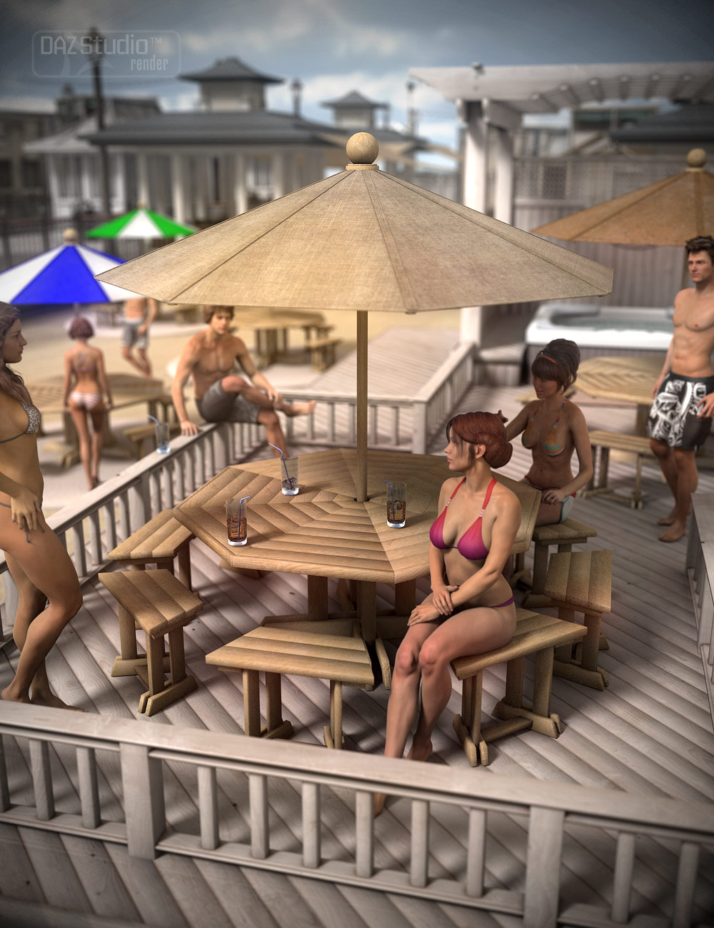 Umbrella Patio Table by: ARTCollab, 3D Models by Daz 3D