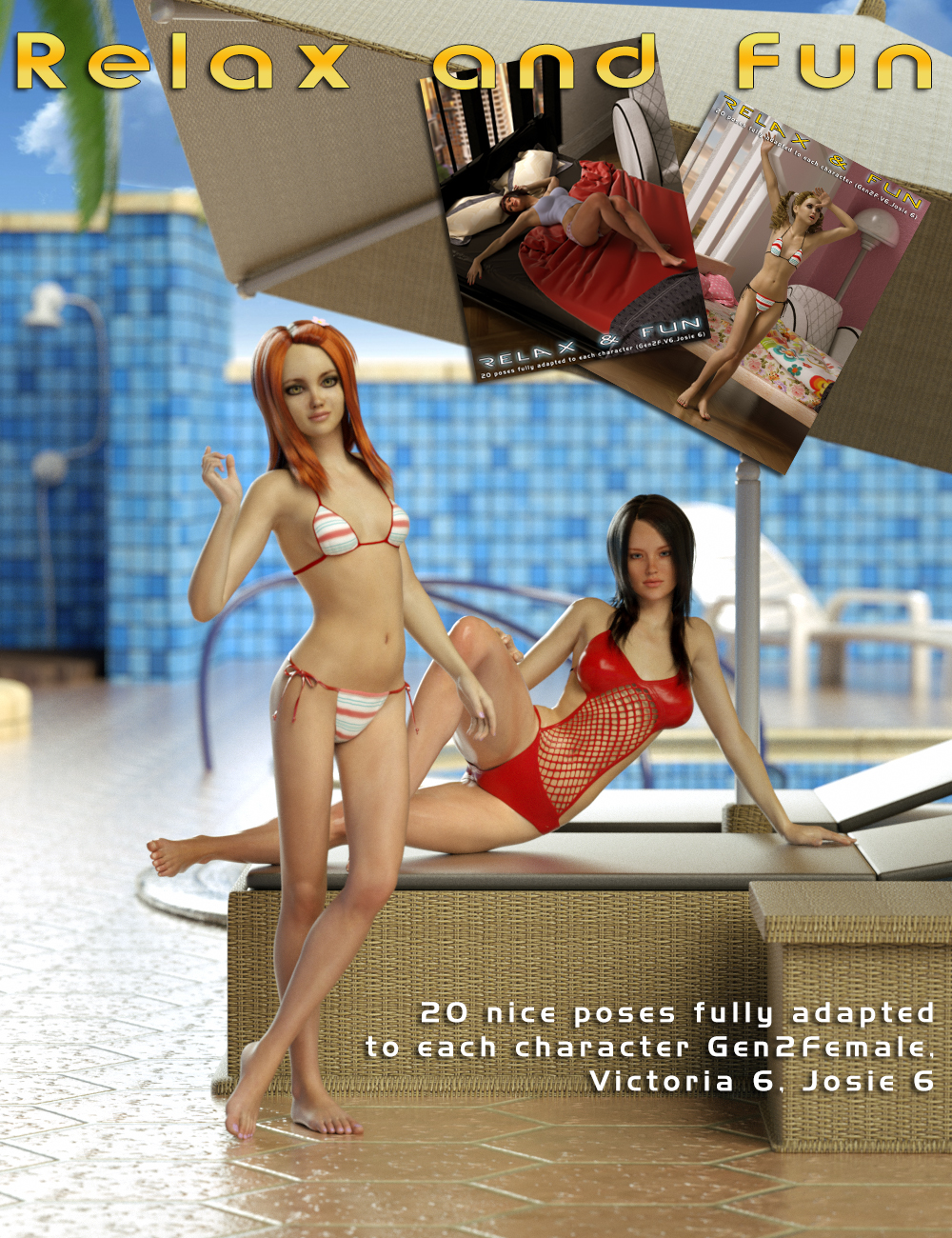 Relax and Fun for Genesis 2 Female(s) by: Slide3D, 3D Models by Daz 3D