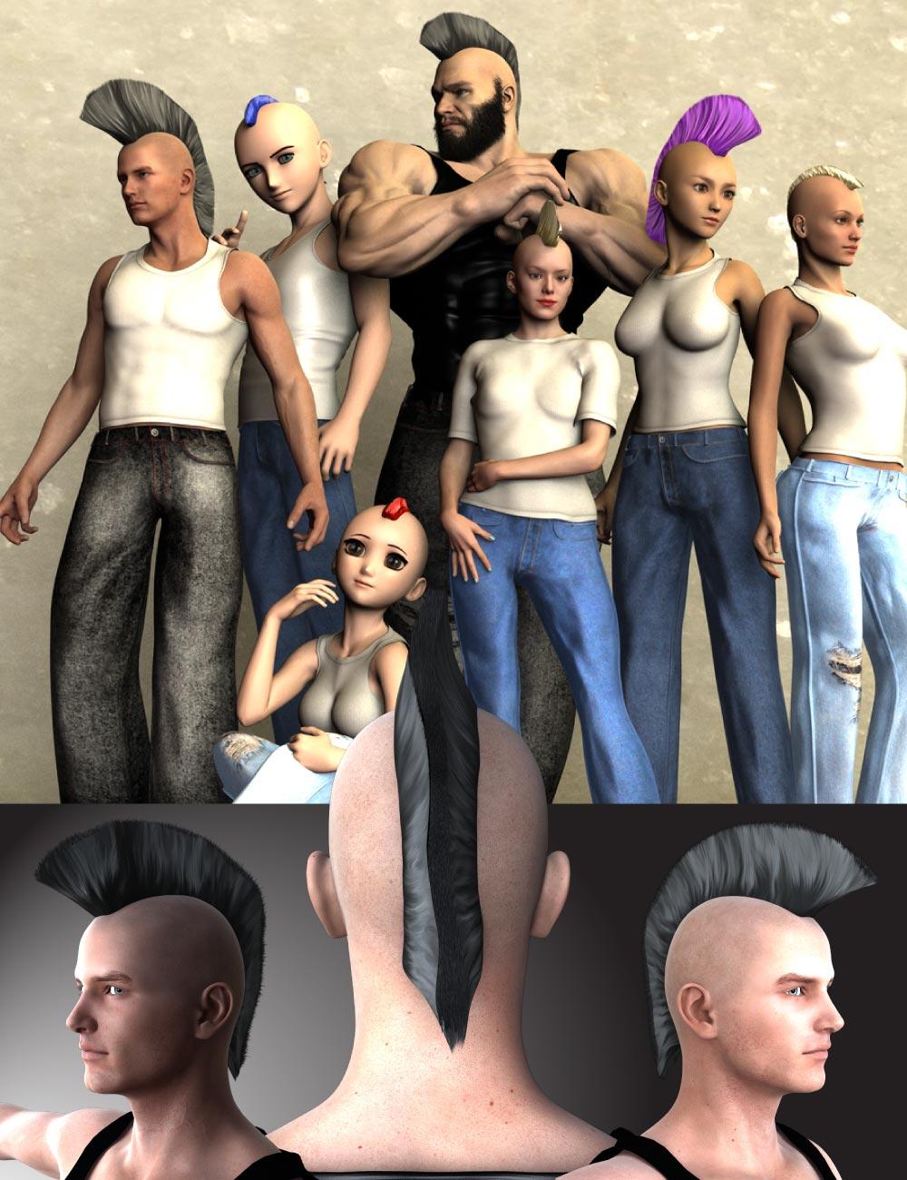 DA Mohawk Genesis by: Design Anvil, 3D Models by Daz 3D