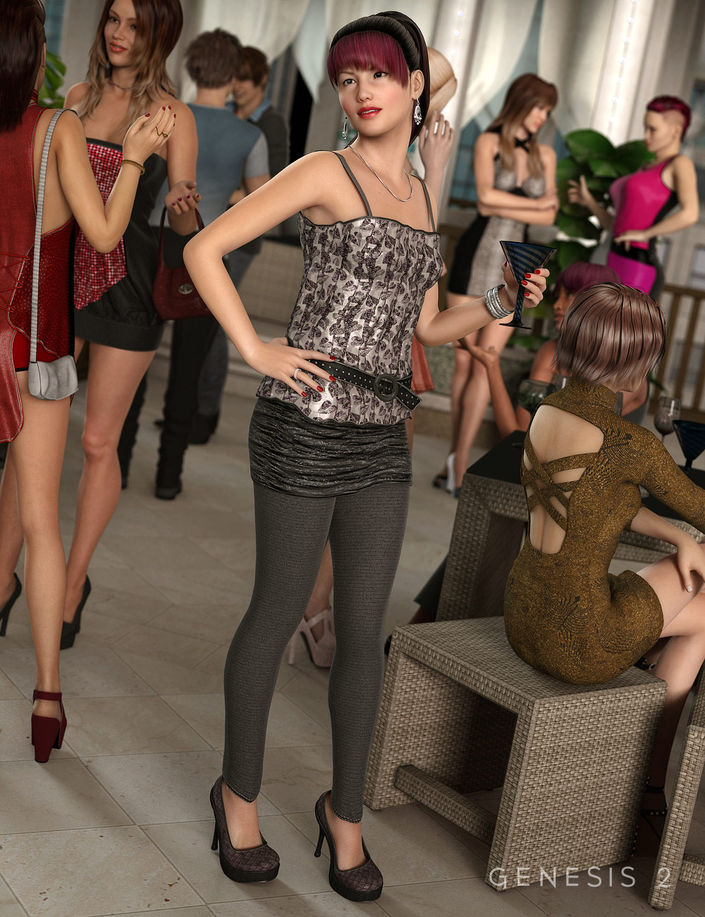 Girl's Night Outfit for Genesis 2 Female(s) by: Barbara BrundonSarsa, 3D Models by Daz 3D