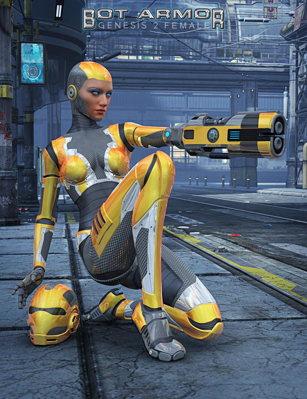 Genesis 2 Female Bot Armor Bundle by: Parris, 3D Models by Daz 3D