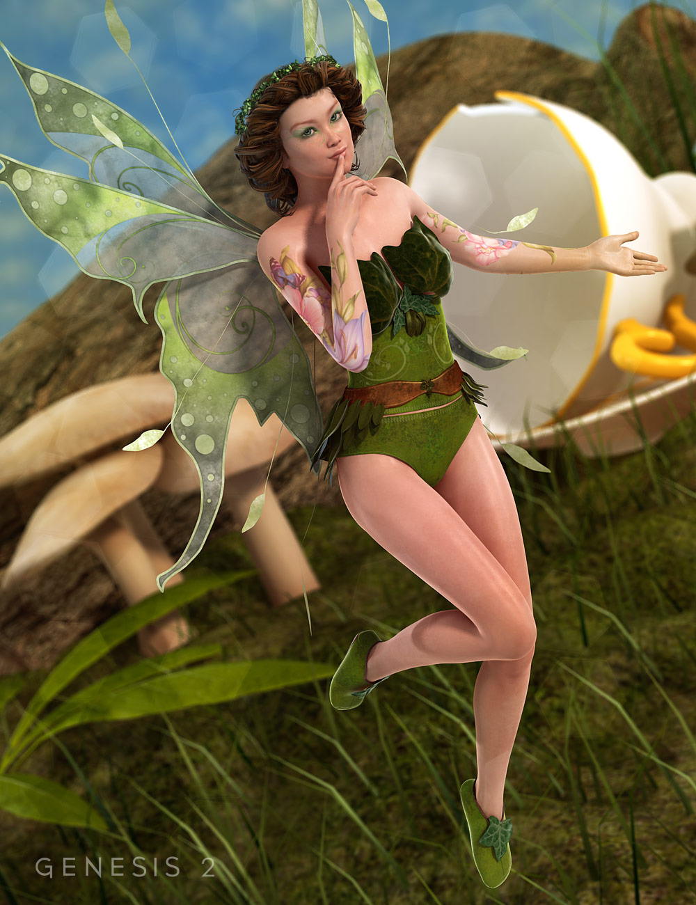 Ivy Dress and Shoes for Genesis 2 Female(s) by: Renderwelten, 3D Models by Daz 3D