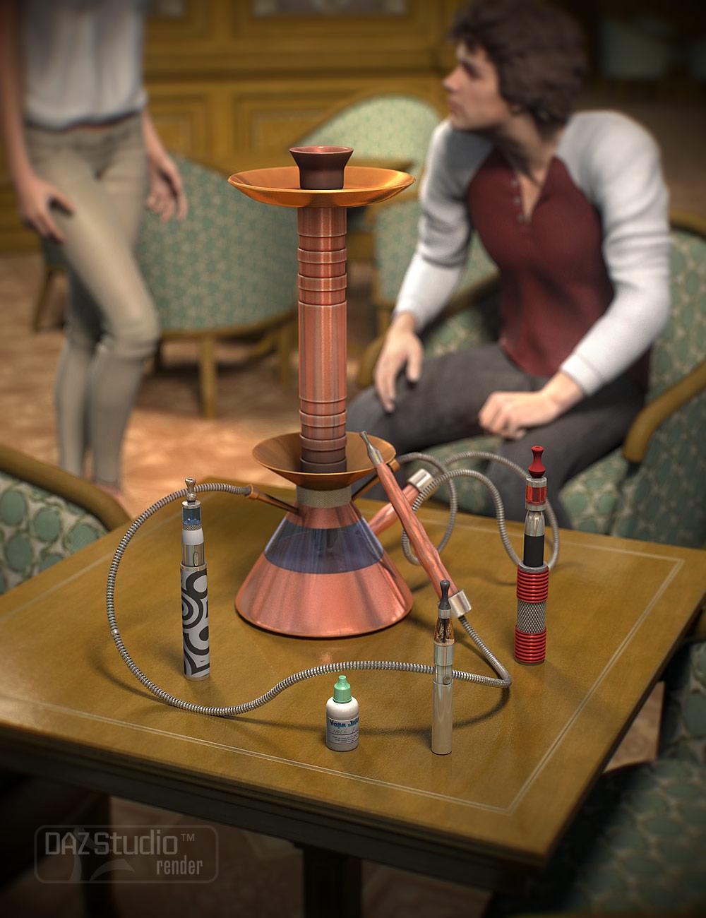 Vapor Pens and Hookah by: Valandar, 3D Models by Daz 3D