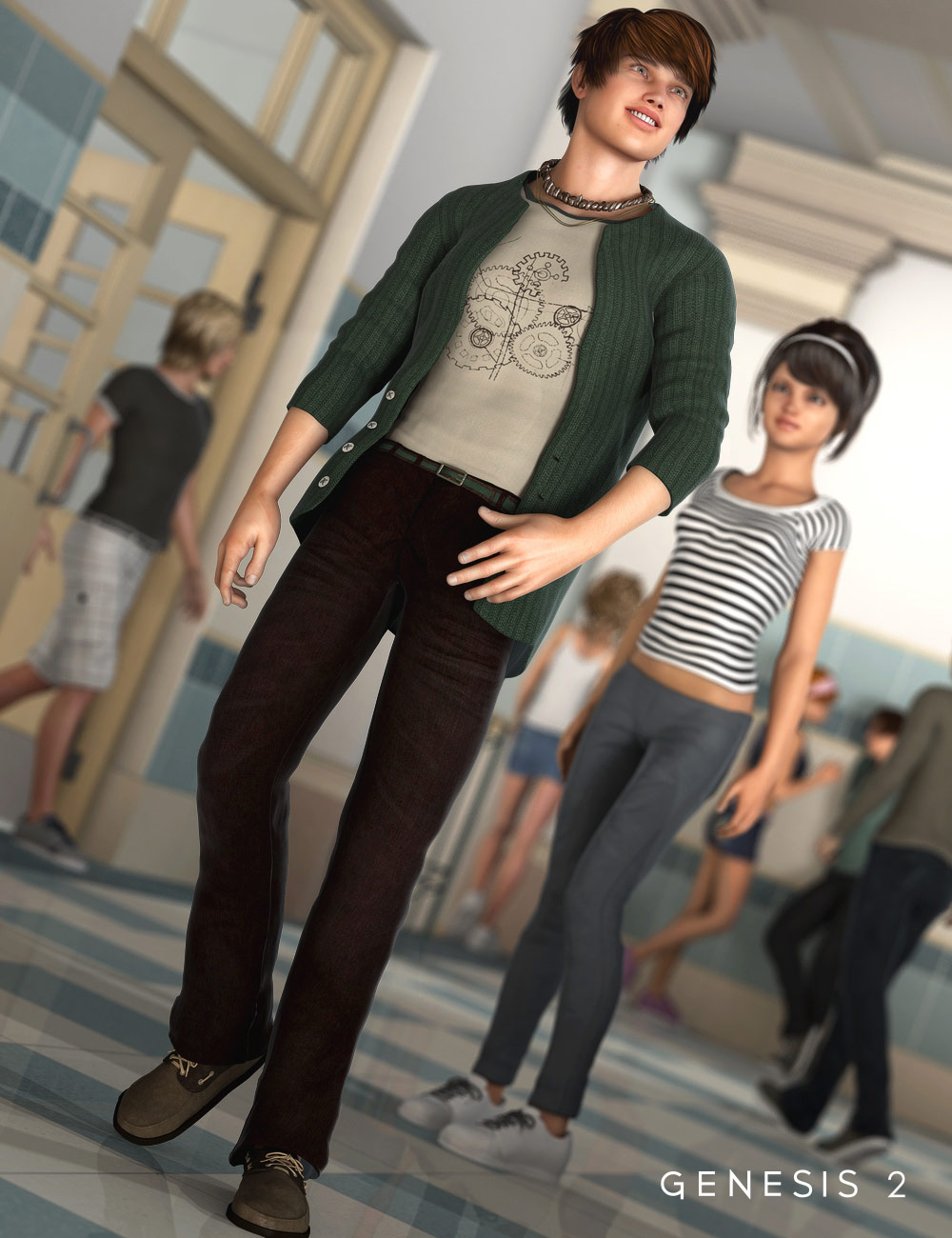 Trendy College Outfit for Genesis 2 Male(s) by: Barbara BrundonSarsa, 3D Models by Daz 3D