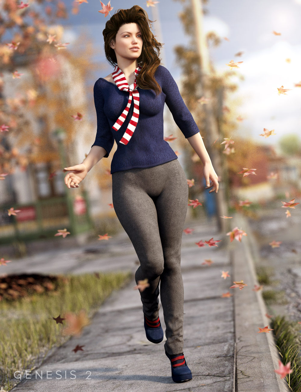 Autumn Afternoon Outfit for Genesis 2 Female(s) by: Barbara BrundonSarsa, 3D Models by Daz 3D